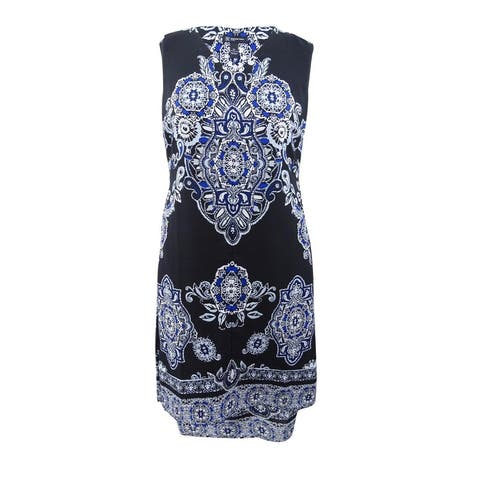 INC International Concepts Women's Plus High-Low Midi Dress - Paisley Blue