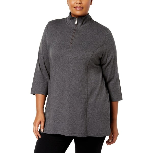 8389b9bf8e1 Shop Karen Scott Womens Plus Tunic Top Half-Zip 3 4 Sleeves - Free ...
