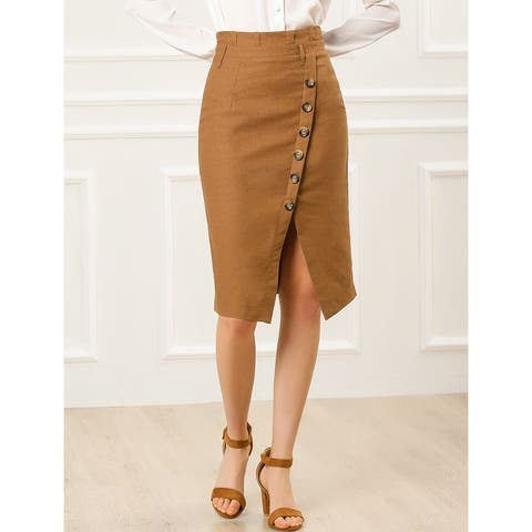 Women's Button Decor Split Belted Smocked Vintage Short Pencil Skirt