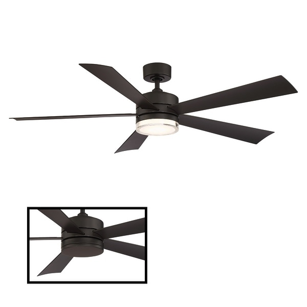 Wynd Indoor and Outdoor 5-Blade Smart Ceiling Fan 60in with 3000K LED Light Kit and Wall Control. Opens flyout.