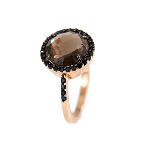 Forever Last 18 kt Gold Plated Women's Rose Plated Faceted Smoky Quartz Ring. Opens flyout.