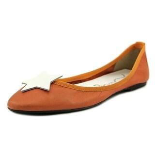 Penelope 1556 Women Round Toe Leather Orange Ballet Flats
