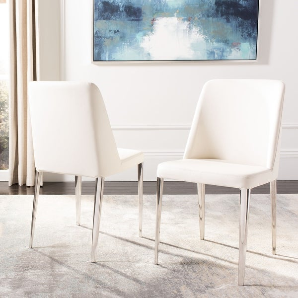 """Safavieh Mid Century Dining Baltic White Dining Chairs (Set of 2) - 22.5"""" x 17.8"""" x 34.8"""". Opens flyout."""