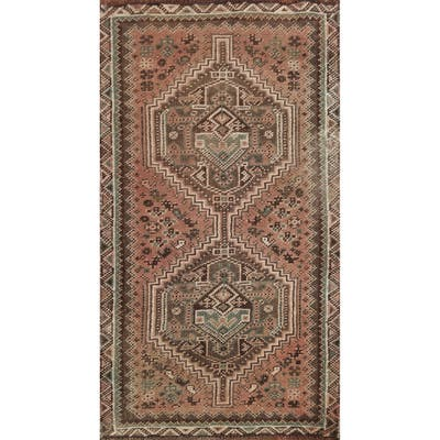 """Antique Geometric Shiraz Persian Area Rug Wool Hand-knotted Carpet - 2'2"""" x 3'9"""""""
