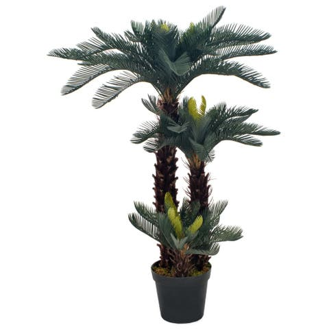 vidaXL Artificial Plant Cycas Palm with Pot Green 49.2""