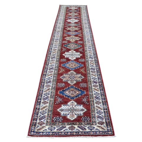 """Shahbanu Rugs Hand Knotted Super Kazak Brick Red with Serrated Medallions Pure Wool Oriental Runner Rug (2'7"""" x 13'2"""")"""