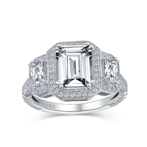 3CT Halo 3 Stone Emerald Cut CZ Engagement Ring CZ 925 Sterling Silver. Opens flyout.