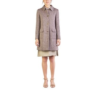Miu Miu Women's Virgin Wool Four-Button Tweed Coat Brown - 44