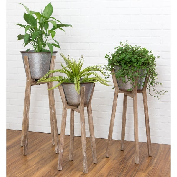 """Hayes Modern Rustic Planters (Set of 3) - 35""""h x 17""""w / 32""""h x 16""""w / 28""""h x 14""""w. Opens flyout."""