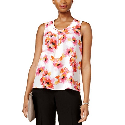 Kasper Petite Printed Pleat Neck Top Shell Pink Perfection - ps