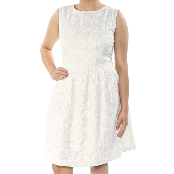 ANNE KLEIN Womens Ivory Textured Sleeveless Jewel Neck Knee Length Fit + Flare Dress Size: 6