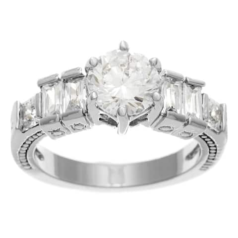 Silver Cubic Zirconia Engagement/Bridal Ring by Simon Frank Designs