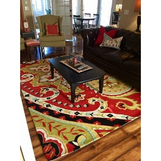 "Hand-hooked Charlotte Red/Black Rug - 7'6"" x 9'6"""