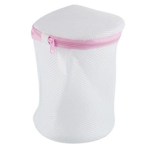 Zipper Lingerie Delicate Mesh Wash Bag Home Net Washing Laundry Basket - White Pink