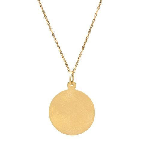Pori 14K Solid Gold Engravable Disc Pendant Necklace