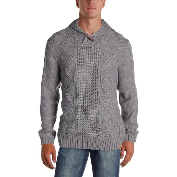 b6104b3f70c189 Weatherproof Vintage Mens Shawl-Collar Sweater Long Sleeves Toggle - XL