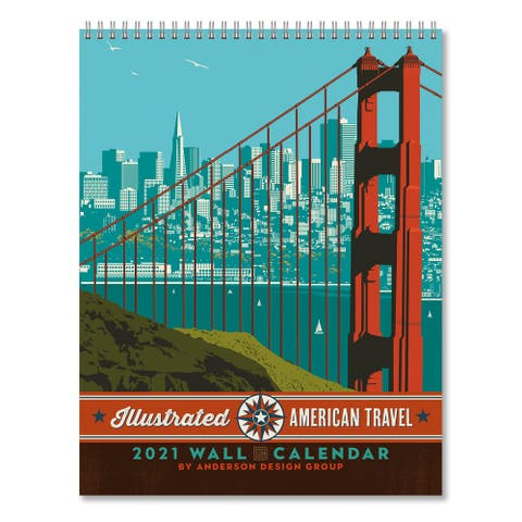 Americanflat 2021 Wall Calendar American Travel by Anderson Design Group - 13.9 x 10.91 x 0.91 inches