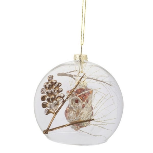 "3.5"" Luxury Lodge Woodland Owl and Pine Cone Filled Clear Glass Ball Christmas Ornament"