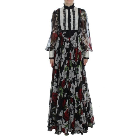 Dolce & Gabbana Dolce & Gabbana Black Silk Multicolor Roses Print Dress - it38-xs
