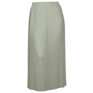NY Collection Women's Solid Color Chiffon Long Skirt - White