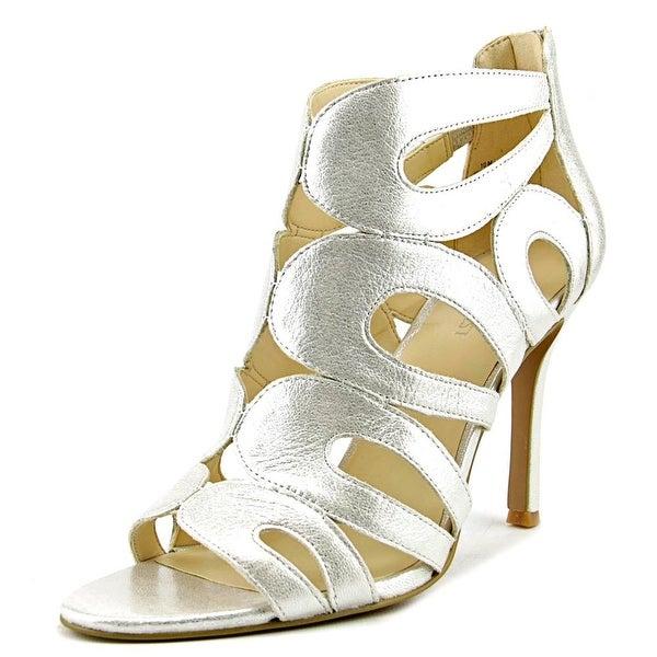 Nine West Flora Women Open Toe Leather Silver Sandals