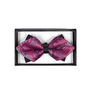 Men's Hot Pink Paisley Diamond Tip Bow Tie - DBB3030-36
