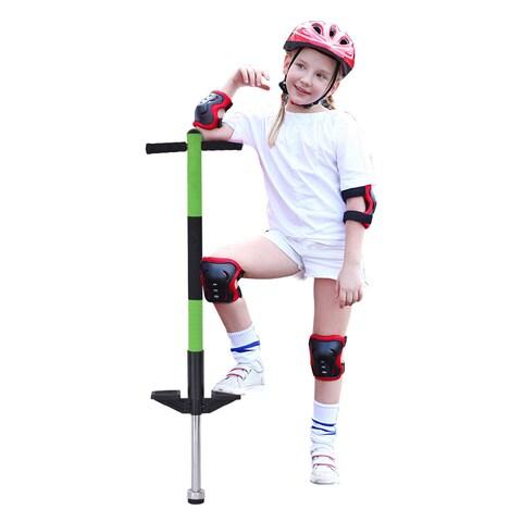 Gymax Padded Single Pogo Stick Jump Stick Children Balance Training Interior Spring