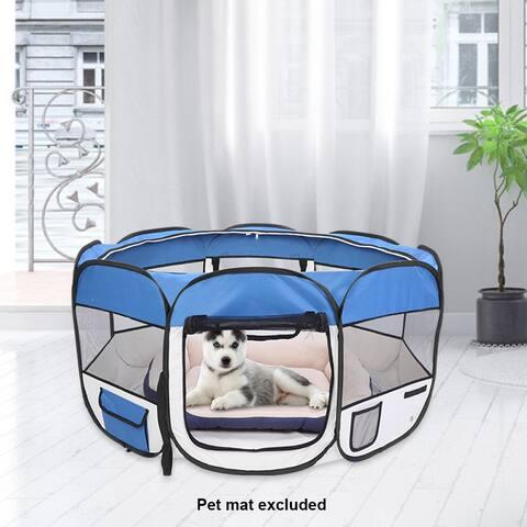 "57"" Portable Foldable 600D Oxford Cloth & Mesh Pet Playpen Fence"