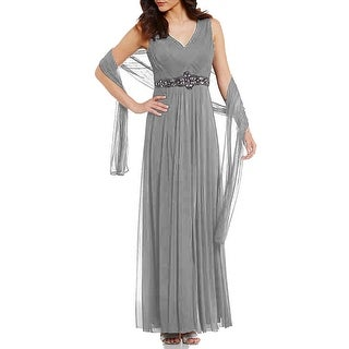 Jessica Howard Basket weave-Bodice Mesh Gown Smoke Gray 16