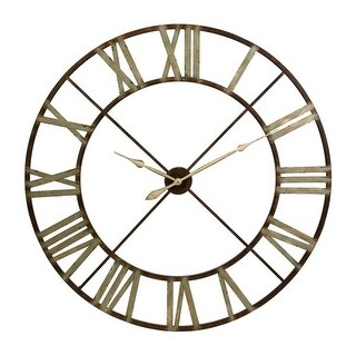 48 Green Shaded Rustic Antiqued Iron Decorative Oversized Wall Clock