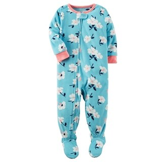 Carter's Baby Girls' 1 Piece Floral Fleece Pajamas, 6 Months - Blue Floral