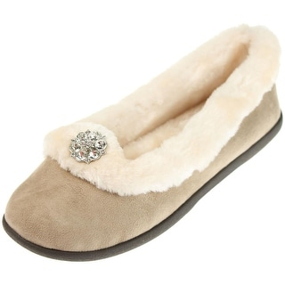 Daniel Green Womens Clarice Faux Suede Jeweled Ballet Slippers - 8 medium (b,m)