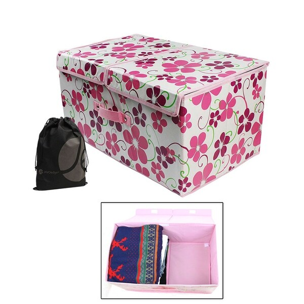 JAVOedge Pattern Storage Organizing Box with Two Sections, Handle, Top for Clothes or Toys