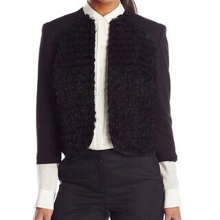 Nine West NEW Black Ponte Women's Size 16 Flyaway Open-Front Jacket