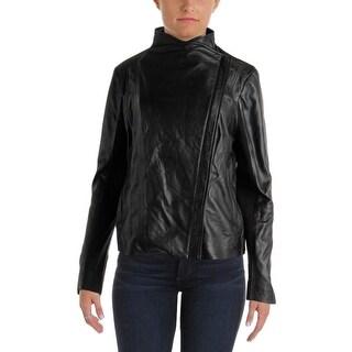 Trouve Womens Leather Asymmetric Motorcycle Jacket