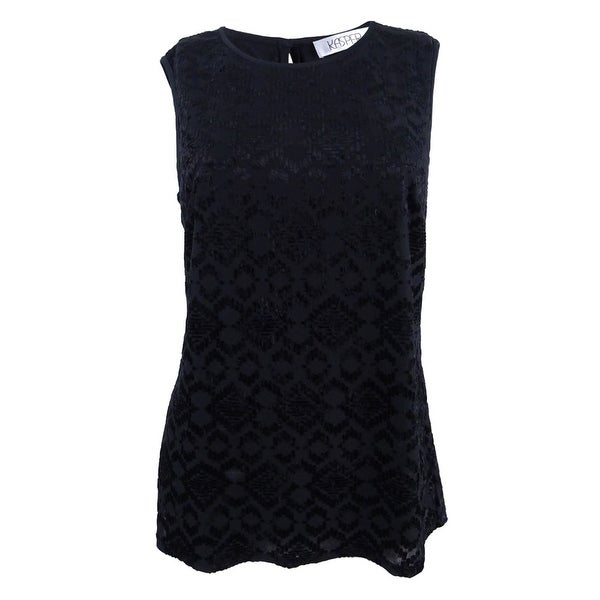 6f605abcc88729 Shop Kasper Women's Plus Size Burnout-Knit Scoop-Neck Shell Top - Black -  On Sale - Free Shipping On Orders Over $45 - Overstock - 21546958