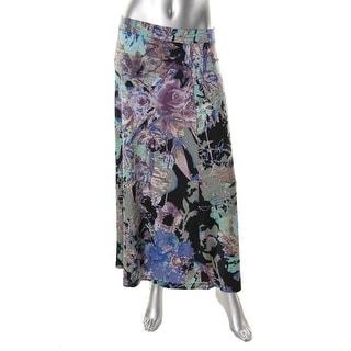 Kasper Womens Stretch Printed Maxi Skirt