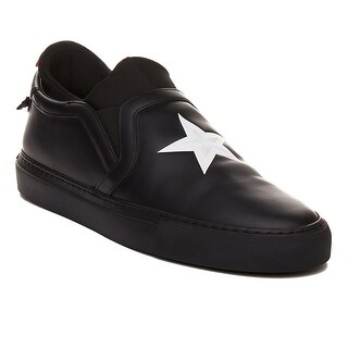 Givenchy Men's Leather Star Embossed Slip-On Sneaker Shoes Black