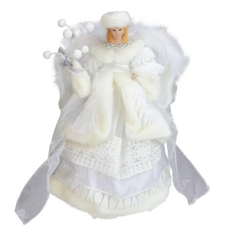 "12"" White Angel in a Dress Christmas Tree Topper- Unlit"