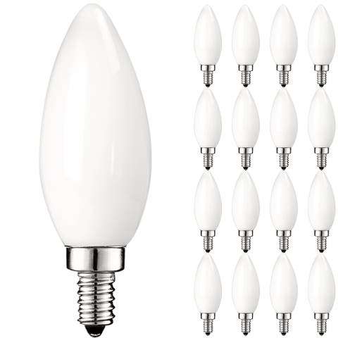 Luxrite LED Chandelier Light Bulbs, E12 Led Bulb Dimmable, 40 Watt Equivalent, 2700K Warm Whit, 360lm, UL Rated, 16 Pack