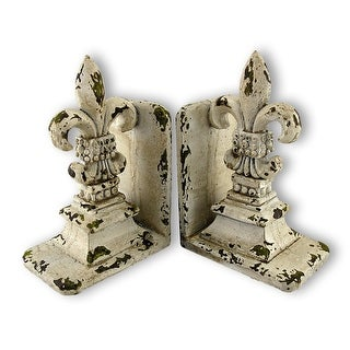 Shabby Chic Distressed White Fleur De Lis Bookends