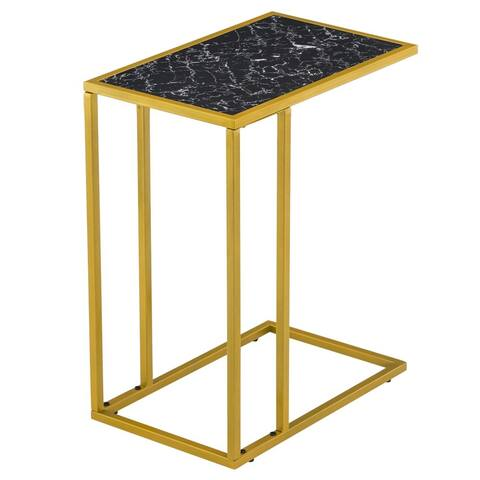 Simple C-shaped Side Table End Table Marble Black