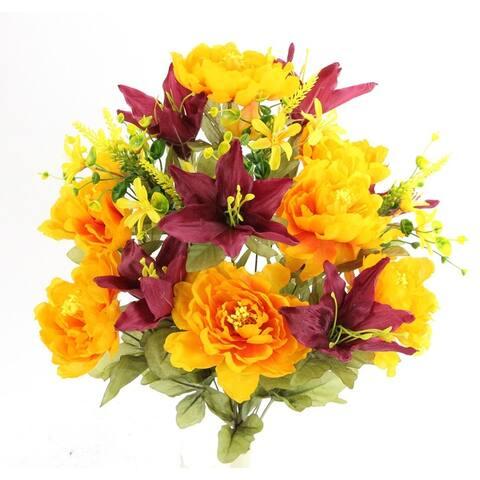 Spring Artificial Flowers and Mixed Bush - Stems Arrangement, ABN1B009-GD-BG