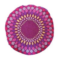 Vivai Home Purple Spirograph Pattern Wool Cotton Feather 24 Round Pillow
