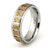 Two-Tone Stainless Steel Ring w/ Slanted Line Design