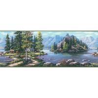 Brewster TLL96512B Boon Green Cabin Scenic Border Wallpaper - green scenic cabin - N/A