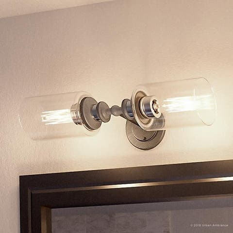 """Luxury Industrial Chic Bathroom Vanity Light, 4.75""""H x 18.5""""W, with Steampunk Style, Aged Nickel Finish by Urban Ambiance"""
