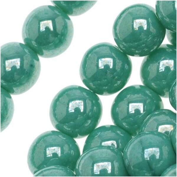 Czech Glass Druk Round Beads 6mm Green Turquoise Luster (50)