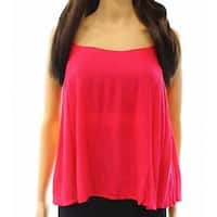 Elodie Pink Womens Size Medium M Ruffle Trim Swing Tank Cami Top