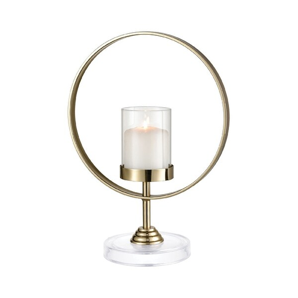 """15"""" Gold Round Ring with Clear Cylinder Candle Holder - N/A"""